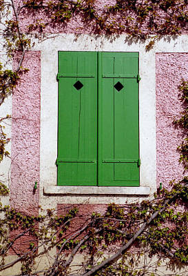 Art Print featuring the photograph Pink Building With Green Shutters by Mary Bedy