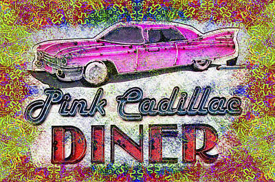 Pink Cadillac Diner Tye Dye Art Print