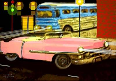 Pink Cadillac Art Print by Larry Lamb