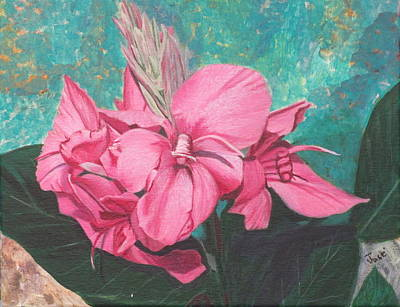 Art Print featuring the painting Pink Canna by Hilda and Jose Garrancho
