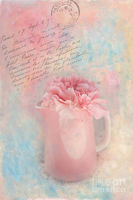 Pink Carnation In Pitcher Art Print by Kay Pickens