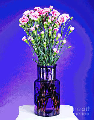 Photograph - Pink Carnations In Purple Vase by Larry Oskin
