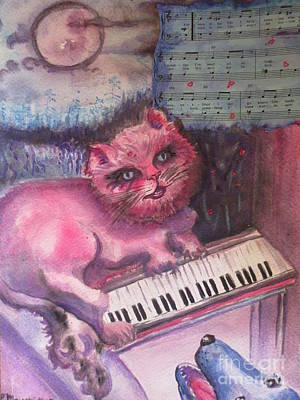 Painting - Pink Cat Sings The Blues by Lynn Maverick Denzer