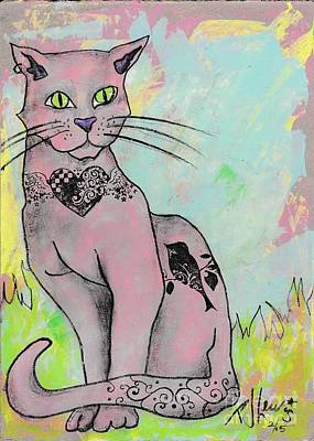 Cat Cartoon Painting - Pink Cat With Tats by PJ Lewis