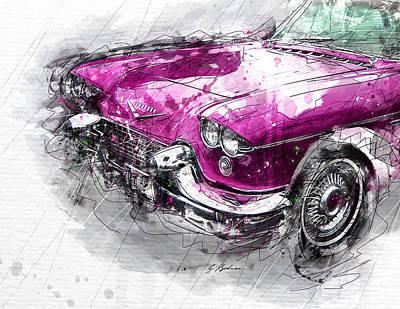Vintage Auto Digital Art - Pink Champagne C by Gary Bodnar