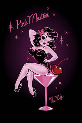 Pin-up Painting - Pink Cherry Martini Girl by Miss Fluff Claudette Barjoud