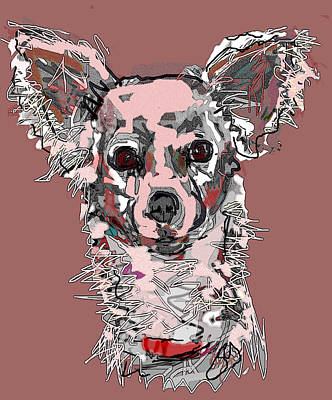 Digital Art - Pink Chihuahua by Joyce Goldin