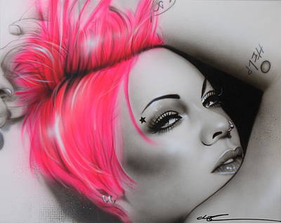 Moore Painting - Alecia Moore - ' Pink ' by Christian Chapman Art