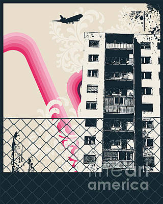 Equipment Wall Art - Digital Art - Pink City Poster by Sengerg