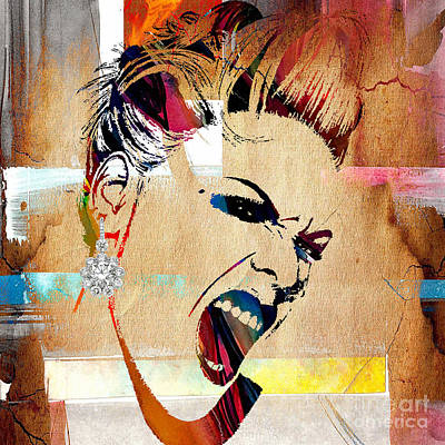 Celebrities Mixed Media - Pink Collection by Marvin Blaine