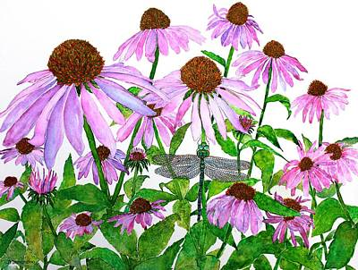 Painting - Pink Cone Flowers And Dragonfly by Janet Immordino