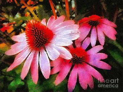 Photograph - Pink Coneflowers - Think Pink  by Janine Riley