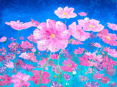 Cosmos Painting - Pink Cosmos by Jan Matson