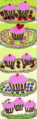 Art Print featuring the painting Pink Cupcake Delights by Ecinja Art Works