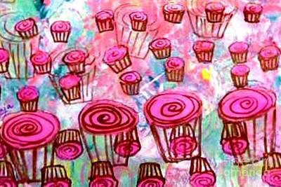 Painting - Pink Cupcake Dream by Ecinja Art Works