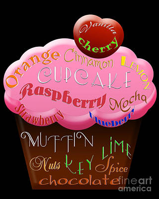 Raspberry Digital Art - Pink Cupcake Typography by Andee Design