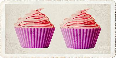 Pink Cupcakes Art Print by Edward Fielding