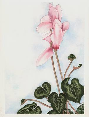 Cyclamen Painting - Pink Cyclamen by Hilda Wagner