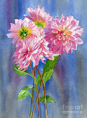 Floral Bouquet Painting - Pink Dahlias With Blue Gray Background by Sharon Freeman