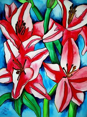 Pink Day Lilies Art Print by Sacha Grossel
