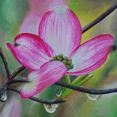 Hyperrealism Painting - Pink Dogwood Blossom by Emily Page