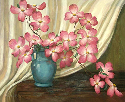 Traditional Still Life Painting - Pink Dogwoods by Evie Cook