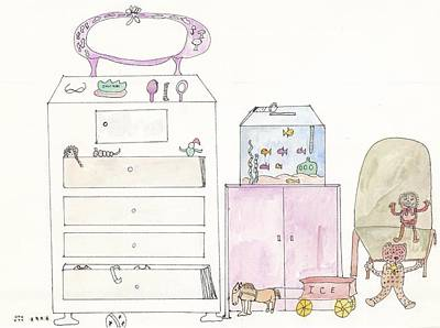 Pink Dolly Bedroom Art Print by Helen Holden-Gladsky