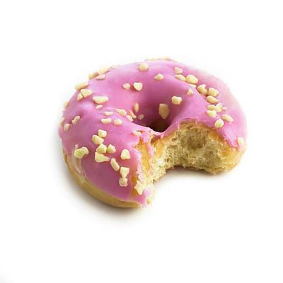 Photograph - Pink Doughnut With Missing Bite by Science Photo Library