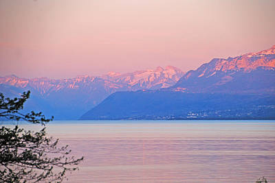 Photograph - Pink Dusk Over Lake Geneva by Ankya Klay