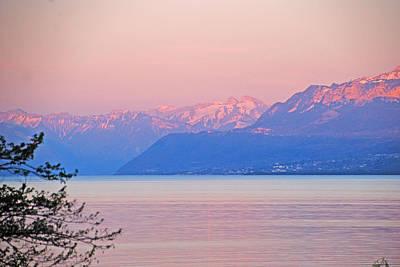 Photograph - Pink Dusk Over Lake Geneva by Ankya Klay