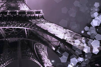 Pink Eiffel French Icon Art Print by Evie Carrier