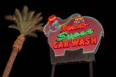 Animals Photos - Pink Elephant Car Wash 36 X 24 by Scott Campbell