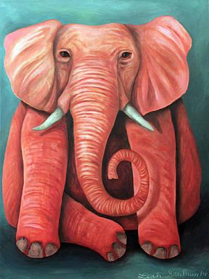 Fushia Painting - Pink Elephant Edit 2 by Leah Saulnier The Painting Maniac