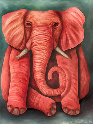 Pink Elephant Edit 3 Art Print by Leah Saulnier The Painting Maniac