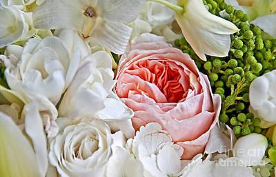 Photograph - Pink English Rose Among White Roses Art Prints by Valerie Garner