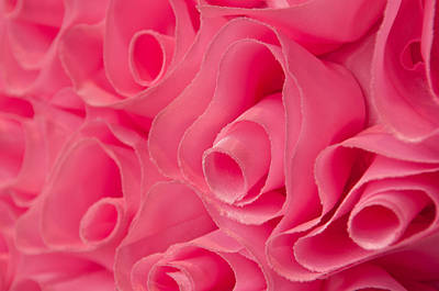 Photograph - Pink Fabric Rose Background by Brandon Bourdages