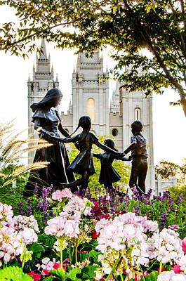 Mormon Temple Photograph - Pink Family Slc Temple by La Rae  Roberts
