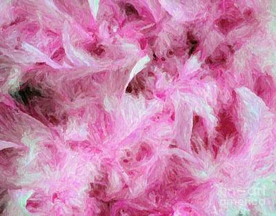 Pink Feathers In Digital Oil Impasto Art Print by Ed Churchill