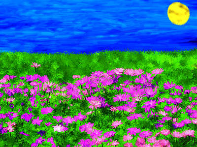 Moon Painting - Pink Field Of Flowers by Bruce Nutting