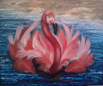 Greater Flamingos Painting - Pink Flamingo by Iryna Fedarava