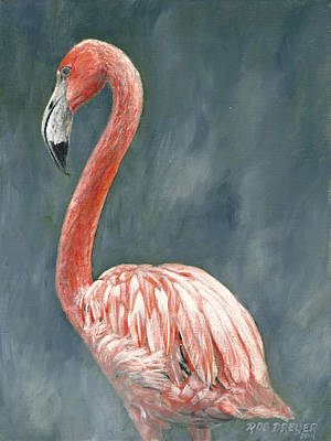 Shorebird Painting - Pink Flamingo by Dreyer Wildlife Print Collections