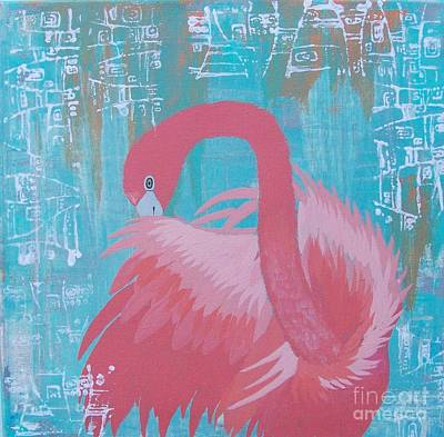Painting - Pink Flamingo Totem by Jean Fry