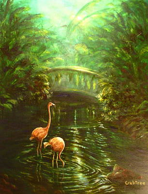 Painting - Pink Flamingos By The Bridge by Elizabeth Crabtree