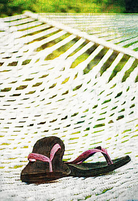 Pink Flip Flops On Backyard Rope Hammock Vintage Scratched Style Art Print by Marianne Campolongo