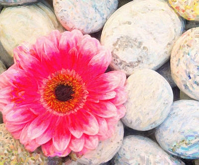 Whimsical Drawings Painting - Pink Flower And Zen Stone by MotionAge Designs