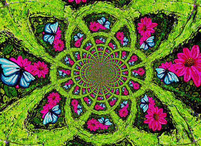 Painting - Pink Flower Butterfly Kaleidoscope Mandela by Genevieve Esson