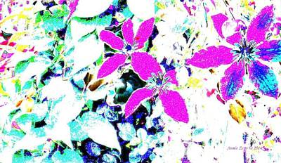 Digital Art - Pink Flowers On White Background by Annie Zeno