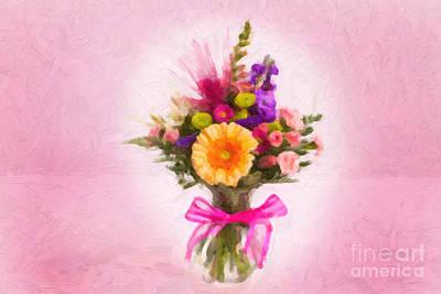 Flowering Plants Digital Art - Pink Flower Painting 8036.02 by M K  Miller