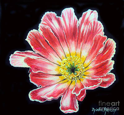 Pink Flower Painting Oil On Canvas Art Print by Drinka Mercep