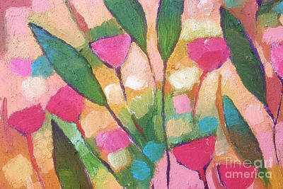 Textured Paint Painting - Pink Flowers Abstraction by Lutz Baar